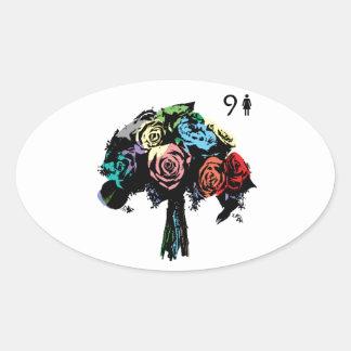 9.bouquet- lenormand oval sticker