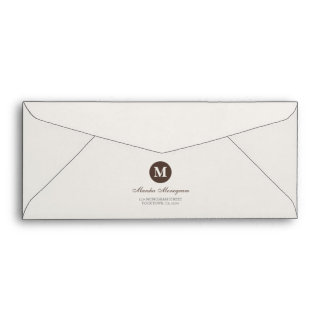 #9 - Brown & Cream Monogram (Brown inside) Envelopes
