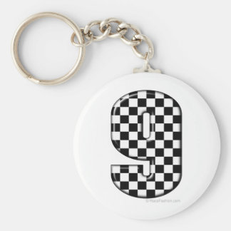 9 checkered auto racing number keychain