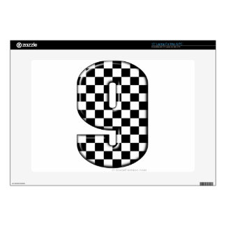 "9 checkered auto racing number skin for 15"" laptop"