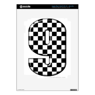 9 checkered auto racing number skin for iPad 3