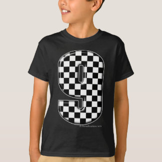 9 checkered auto racing number T-Shirt