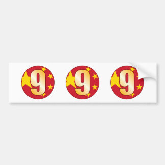9 CHINA Gold Bumper Sticker