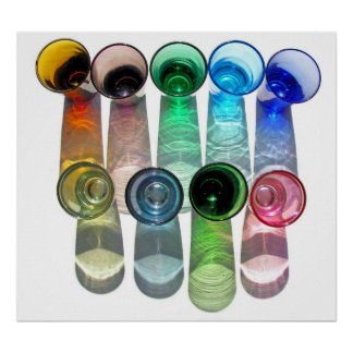 9 Coloured Cocktail Shot Glasses -Style 9 Poster