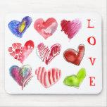 9 corazones del amor en Mousepad blanco Tapetes De Raton