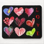 9 corazones del amor en Mousepad negro Tapete De Raton