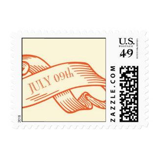 9 de julio en una cinta sello postal