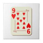 9 del naipe de los corazones azulejo ceramica