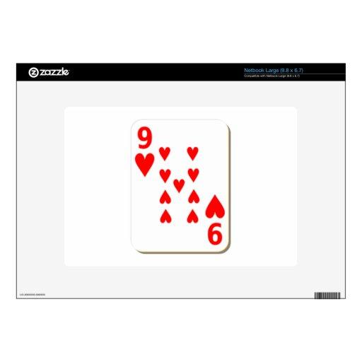 9 del naipe de los corazones netbook grande skin