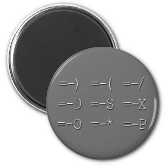 9 Equals Sign Emoticon Collection 2 Inch Round Magnet