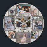 """9 Family Photo Collage Farmhouse Wood Custom Name Large Clock<br><div class=""""desc"""">This simple, modern farmhouse photo collage clock has a geometric look and room for 9 of your personalized family pictures. The clock has 3 horizontal, 2 vertical, and 4 Instagram-style square photographs. The clock has a faux barn wood background with a brown around each photo. Clock numbers form a square...</div>"""