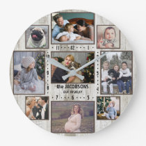 9 Family Photo Collage Farmhouse Wood Custom Name Large Clock