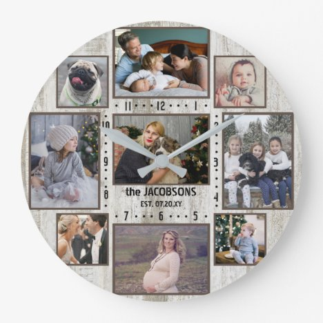 9 Family Photo Collage Farmhouse Wood Custom Name Large Clock