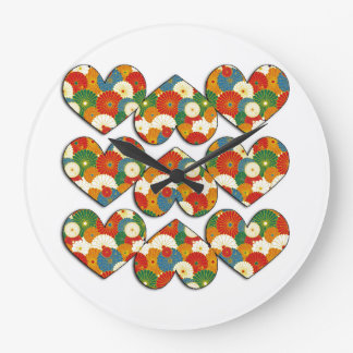 9 Floral Filled Hearts Wall Clock