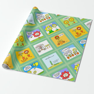 9 Funny Flower Cartoons Humorous Gardening Theme Wrapping Paper