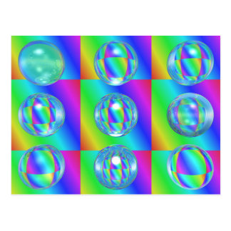 9 glass balls postcard