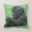 #9- Gorilla with dandelion Throw Pillow