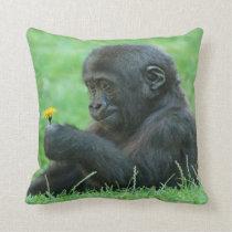 #9- Gorilla with dandelion Throw Pillow
