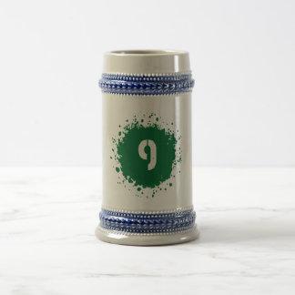 #9 Green Splatter Beer Stein