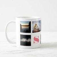 9 Instagram Photos and Pink Monogram on White Coffee Mug