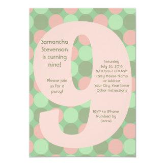 """9 invitaciones, rosas y verdes grandes de la invitación 5"""" x 7"""""""