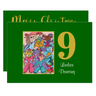 9 Ladies Dancing Cute Animals Custom Christmas Card