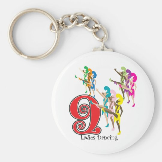9 Ladies Dancing Keychain