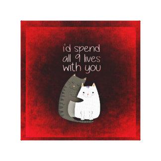 9 Lives Feline Love Canvas Print
