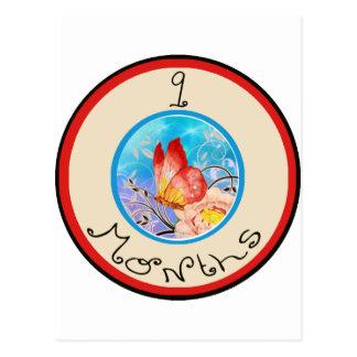 9 meses de jalón de la mariposa tarjeta postal
