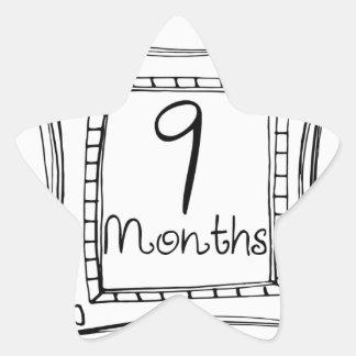 9 meses de jalón del Doodle Pegatina En Forma De Estrella