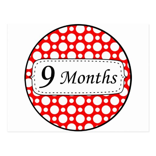 9 meses de jalón del lunar tarjeta postal
