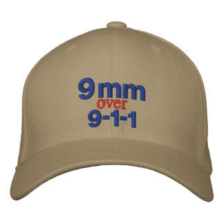 9 mm over 9-1-1 embroidered baseball hat