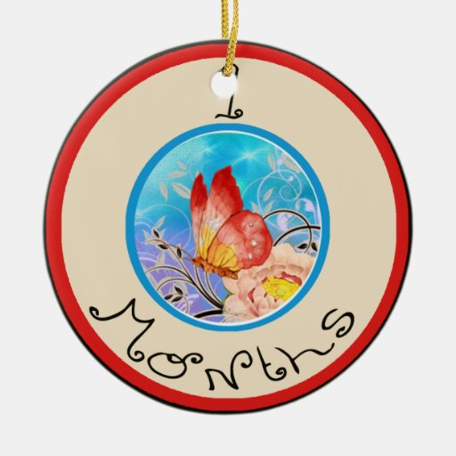 9 Months Butterfly Milestone Double-Sided Ceramic Round Christmas Ornament