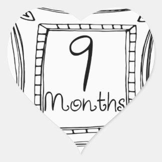 9 Months Doodle Milestone Heart Sticker