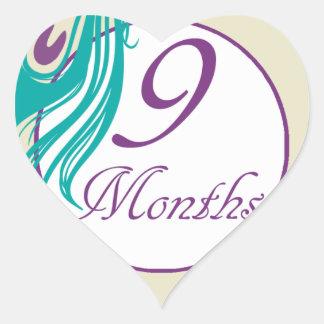 9 Months Peacock Milestone Heart Sticker