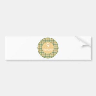 9 Months Plaid Milestone Bumper Sticker
