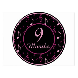 9 Months Rocker Girl Milestone Postcard