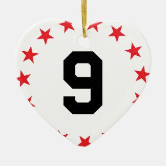 9/nine ceramic ornament