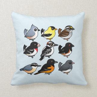 9 Northeast USA Backyard Birds Throw Pillow