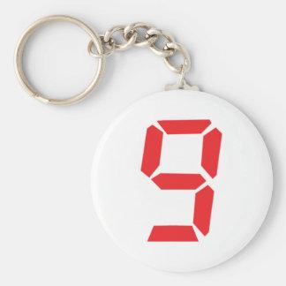 9 número digital del despertador de nueve rojos llavero redondo tipo pin