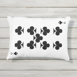 9 of Clubs Outdoor Pillow