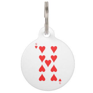 9 of Hearts Pet Name Tag