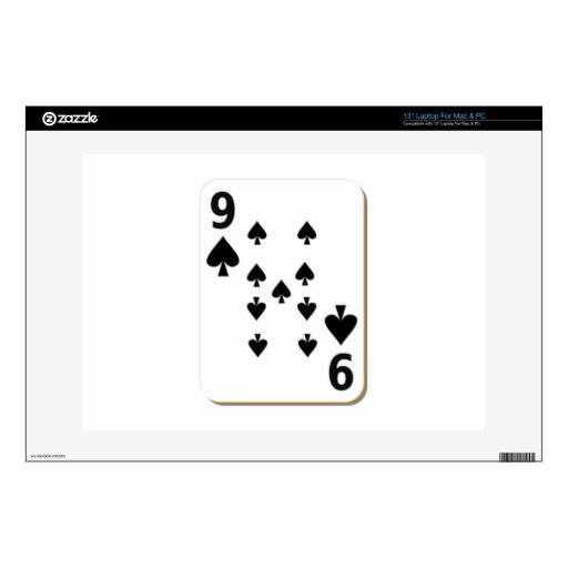 """9 of Spades Playing Card Skin For 13"""" Laptop"""
