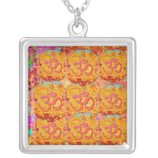 9 Om Mantra Images representing NAV DURGA Square Pendant Necklace