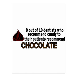 9 Out Of 10 Dentist Recommend Chocolate Postcard