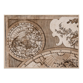 9 Panel Sepia Version de L'Isle World Map Frame 1 Posters