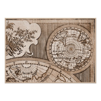 9 Panel Sepia Version de L'Isle World Map Frame 3 Poster