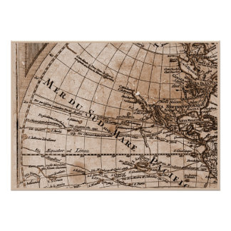 9 Panel Sepia Version de L'Isle World Map Frame 4 Posters