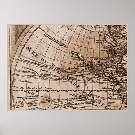 9 Panel Sepia Version de L'Isle World Map Frame 4 Poster