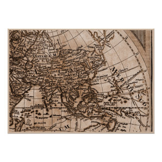 9 Panel Sepia Version de L'Isle World Map Frame 6 Poster